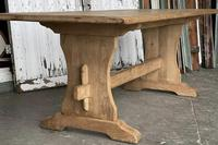 French Bleached Oak Trestle End Farmhouse Dining Table (16 of 19)