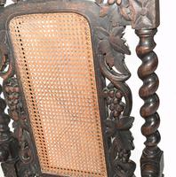 Pair of Carved Oak Armchairs Farmhouse Gothic Barley Twist 1880 (4 of 8)