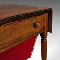 Antique Drop Leaf Sewing Table, English, Rosewood, Side, Lamp, Regency c.1820 (11 of 12)