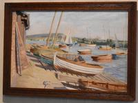 Boats in Harbour Oil Painting by Marjorie Mort (1906-1988) (2 of 6)