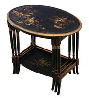 Victorian Oriental Chinoiserie Nest of Decorated Black Lacquer Tables (3 of 10)