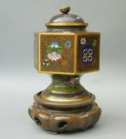 Japanese Cloisonne Lidded Vase on Hardwood Stand (4 of 7)