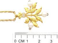 Pearl, Diamond & 21ct Yellow Gold Pendant - Antique c.1890 (6 of 9)