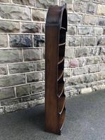 Slim Oak Domed Top Waterfall Open Bookcase (4 of 6)