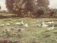 Arrival of the Geese - Oil on Canvas Signed & Dated Edwad Rawstorne 1858 (6 of 7)