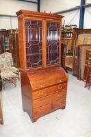 1900's Large Mahogany Cylinder Bureau Bookcase with Key (2 of 6)