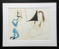 Vintage lithograph from Pablo Picasso's La Comedie Humaine Suite