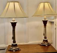 Pair of Shabby Crackle Painted Corinthian Column Lamps (3 of 12)