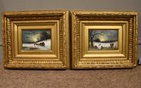 """Oil painting Pair by Robert Finlay McIntyre """"Rabbits in a winter landscape"""" and """"Trudging home through the snow"""""""
