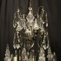 French Bronze & Crystal 8 Light Cage Chandelier (8 of 10)