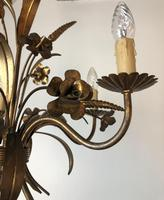 Vintage French 5 Arm Gilt Wheatsheaf & Floral Toleware Chandelier (2 of 9)