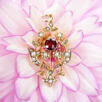 Antique 15ct Gold Garnet & Pearl Floral Pendant, Art Nouveau Victorian Pendant
