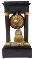 Antique Satinwood Inlaid Mantel Clock Rosewood French Striking Portico Mantle Clock (6 of 11)