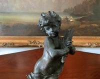 Fine Large 19th Century Antique Solid Bronze Cherub Sculpture Statue Figurine (7 of 13)