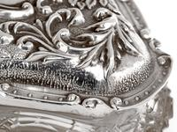 Edwardian Silver & Cut Glass Jewellery Jar with a Floral and Scroll Embossed Pull Off Lid (4 of 6)