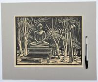 Mary Dudley Short (Molly Freeman), linocut print, Seated Buddha, 4/25, c1935 (5 of 6)