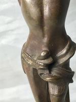 Antique 19th Century French Bronze Religious Crucifix Jesus INRI Display Statue (8 of 12)