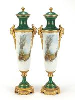 Large Pair of French Porcelain Vases with Gilt Bronze Mounts (4 of 5)