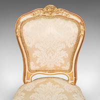 Antique Boudoir Chair, French, Giltwood, Bedroom Dressing Seat, Victorian c.1900 (8 of 12)