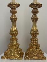Pair of Decorative French 19th Century Gilded Hallmarked Cartouche Scroll Candlesticks (4 of 40)