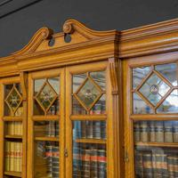Edwardian Oak Breakfront Bookcase with Open Central Section (8 of 10)