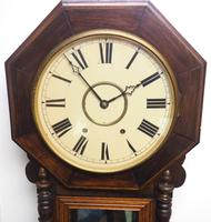 Impressive Victorian American Drop Dial Wall Clock 8 Day Movement Inlaid Case (11 of 14)