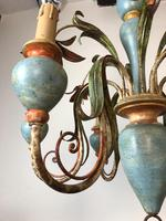 Large Vintage French 6 Arm Polychrome Toleware Ceiling Light Chandelier (4 of 16)