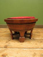 Antique Chinese Wooden Stool with Red Cushion (2 of 13)