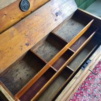 Antique Victorian Pine Chest Rustic Industrial Wooden Trunk + Key + Original Interior (8 of 12)