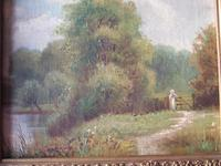 Early 20th century oil painting on board of young woman in rural landscape (2 of 5)