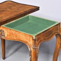 French Victorian Yew & Rosewood Fold-over Card Table / Games Table (9 of 11)