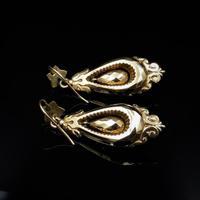 Antique Victorian Etruscan Revival Grape 9ct Gold Long Drop Dangle Earrings (6 of 9)