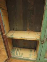 Antique Glazed Wooden Indian Wall Cabinet with Chippy Old Turquoise Paint (7 of 18)