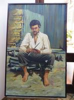 Large oil on canvas The worker Brazilian artist Chediac (Free shipping to Mainland England) (2 of 10)