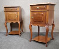 Pair of French Antique Walnut Bedside Cupboards / Night Stands c.1910 (2 of 9)