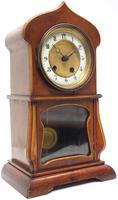 Fantastic Art Nouveau Mantle Clock Tulip Floral Inlay 8 Day Mantle Clock (10 of 10)