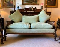 19th Century Antique Mahogany Upholstered 3 Piece Bergere Sofa Suite Armchairs Settee (4 of 15)