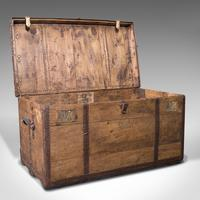 Large Antique Steamer Trunk, English, Pine, Travel, Shipping Chest, Victorian (2 of 12)