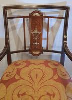 Edwardian Inlaid Rosewood Nursing or Bedroom Armchair (4 of 5)