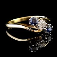 Vintage Art Deco Sapphire & Diamond Trilogy Ring (4 of 10)