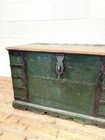 Large Distressed Painted Metal Bound Trunk (5 of 10)