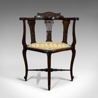 Antique Corner Armchair, French, Beech, Seat, Art Nouveau, Victorian c 1890 (2 of 12)