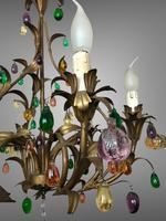 Murano Glass Fruit Venetian 6 Arm Toleware Ceiling Light Chandelier (5 of 9)
