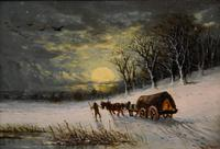 "Oil painting Pair by Robert Finlay McIntyre ""Rabbits in a winter landscape"" and ""Trudging home through the snow"" (6 of 6)"