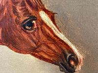 Victorian Oil Painting Chestnut Horse Portrait In Stable Signed Edwin Loder (34 of 42)