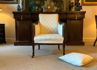 Exceptional Pair of Mahogany Inlaid Linen Silk Upholstered Bergere Armchairs (10 of 12)