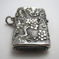 Very Rare Wang Hing Solid Silver Chinese Export Antique Vesta Case Match Box, 19th-Century c.1890 (2 of 9)