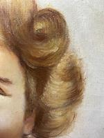 """20th Century Oil Painting Portrait Girl With Curly Hair """"The Happy Smile"""" (7 of 19)"""