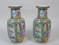 Good Large Pair of Chinese Famille Rose Rouleau Vases 19th Century (9 of 11)