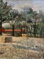 Lovely Original 20th Century Vintage Impressionist Harvest Haystack Landscape Painting (3 of 12)